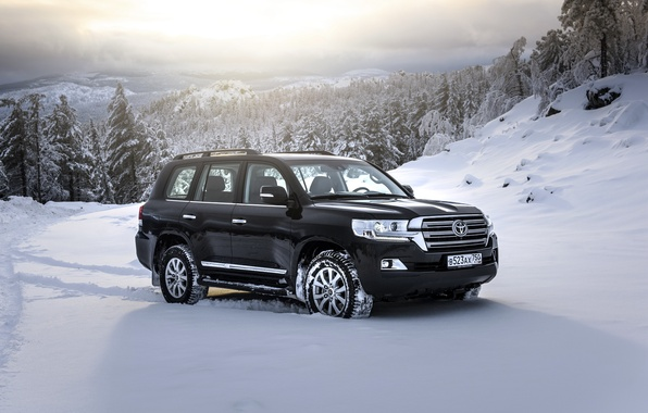 Picture snow, black, SUV, Toyota, Black, Toyota, land cruiser, Land Cruiser 200