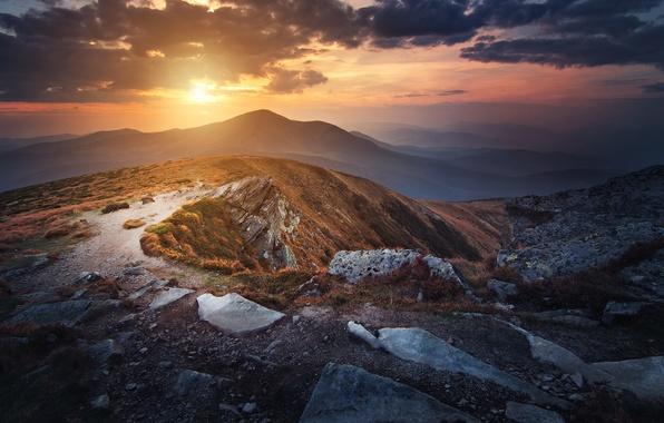 Picture the sky, grass, the sun, clouds, mountains, stones, top, Ukraine, Carpathians, Goverla