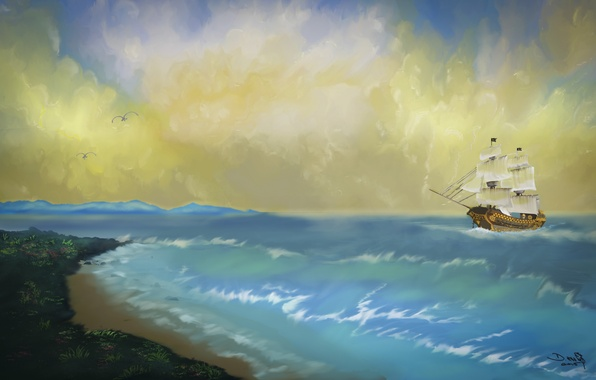 Picture sea, wave, the sky, shore, ship, seagulls, art, painting