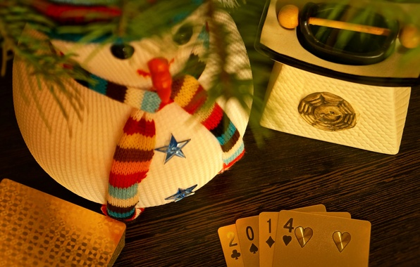 Picture winter, card, gold, holiday, the game, Christmas, New year, snowman, poker, luxury, 2014