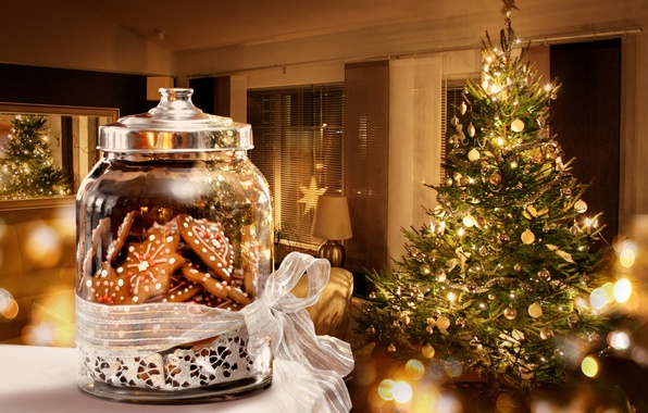 Picture decoration, lights, lights, tree, interior, sweets, New year, new year, merry christmas, decor, interior, sweets, …