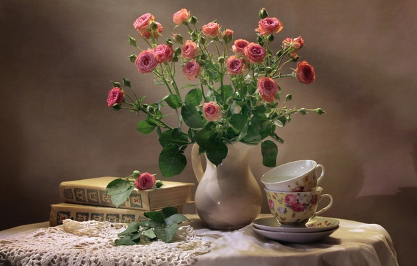 Picture books, roses, bouquet, Cup, still life