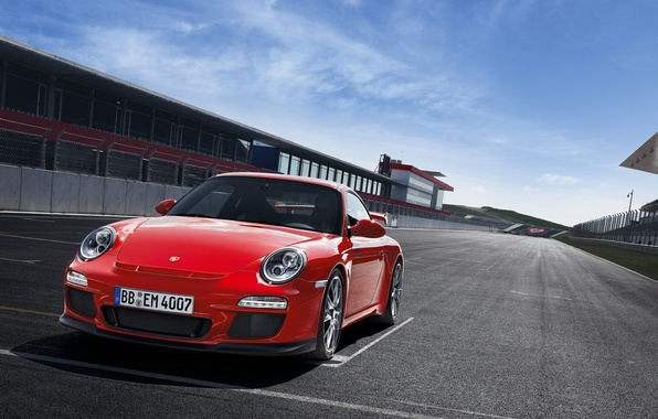 Picture asphalt, red, track, sports car, salon, start, porsche 911 GT3