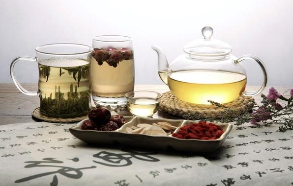 Picture flowers, glass, green, berries, tea, mug, characters, teapot, bowl, fruit