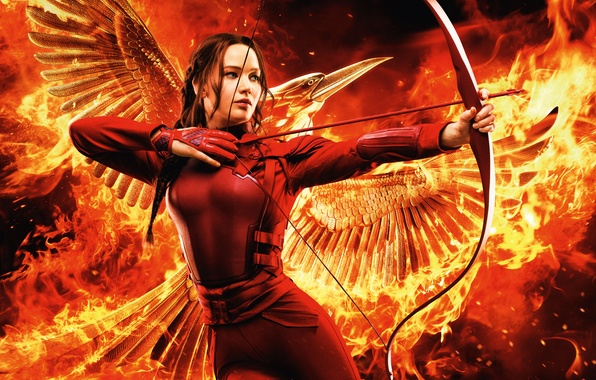 Picture Girl, Red, Fire, Beautiful, Flame, Warrior, Wallpaper, War, Smoke, Bird, Jennifer Lawrence, Weapons, Walt Disney …