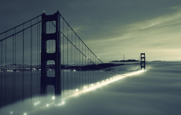 Picture the sky, clouds, bridge, city, the city, lights, lights, fog, river, Golden Gate Bridge, river, …