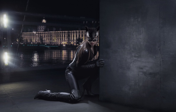 Picture night, the city, wall, boots, mask, costume, Catwoman, Catwoman, in ambush