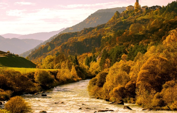 Picture autumn, trees, mountains, river, Alps, Italy, Bank, Val di Fiemme