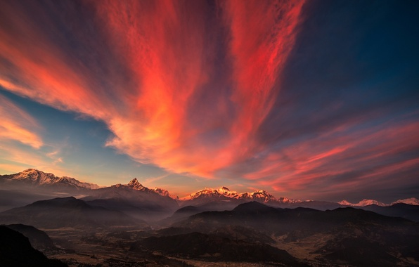 Picture mountains, dawn, valley, panorama, Tibet