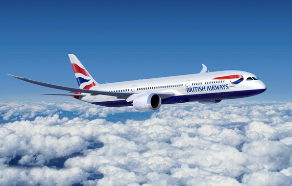 Picture Clouds, The plane, Boeing, Boeing, 777, Passenger, Flies, Airliner, British Airways, In the sky