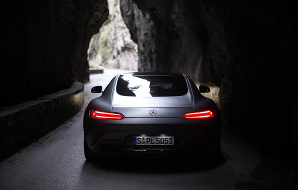 Picture lights, darkness, lights, Mercedes, rear view, AMG, GT-S
