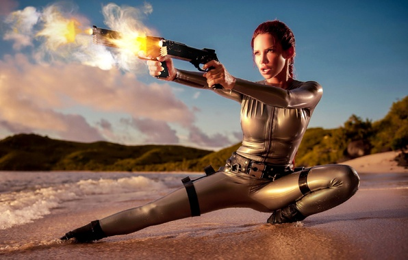 Picture beach, the sky, weapons, fire, shore, model, fantasy, shooting, red, fantasy, Lara Croft, Bianca Beauchamp, …