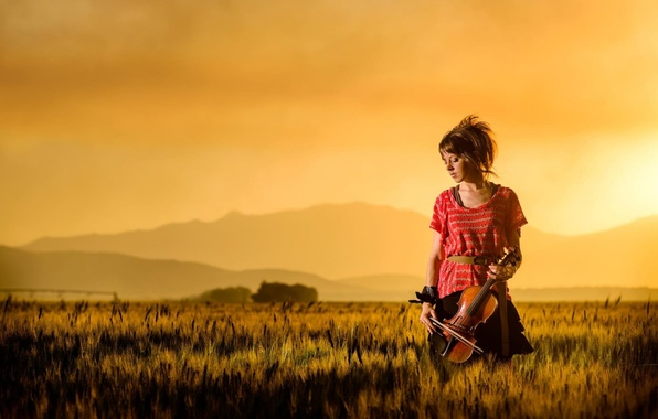 Picture field, sunset, mountains, violin, beauty, violin, Lindsey Stirling, Lindsey Stirling, violinist