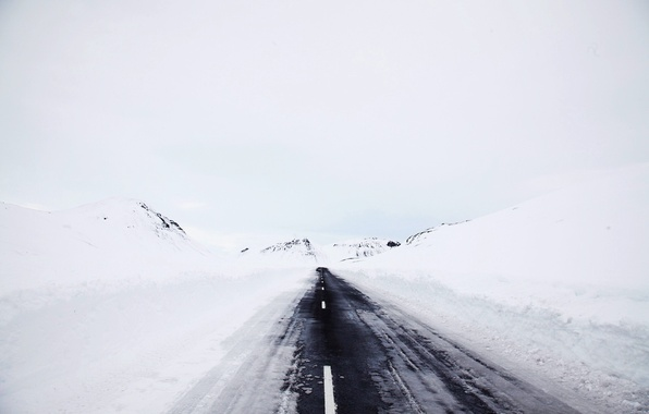 Picture winter, road, snow, fog