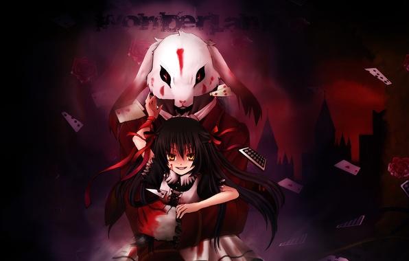 Picture card, blood, rabbit, Alice, Pandora Hearts
