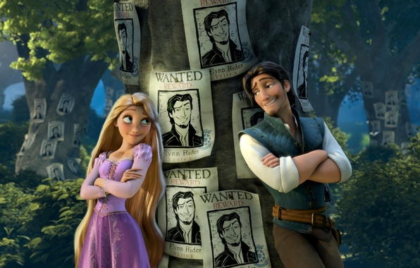 Photo wallpaper the movie, ads, Flynn, the robber, Princess, Tangled, Flynn, Complicated story, hair, search, Wanted, Rapunzel, ...