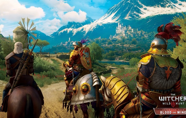 Picture landscape, mountains, beauty, armor, knights, DLC, The Witcher 3: Wild Hunt, Blood and Wine, Toussaint, ...
