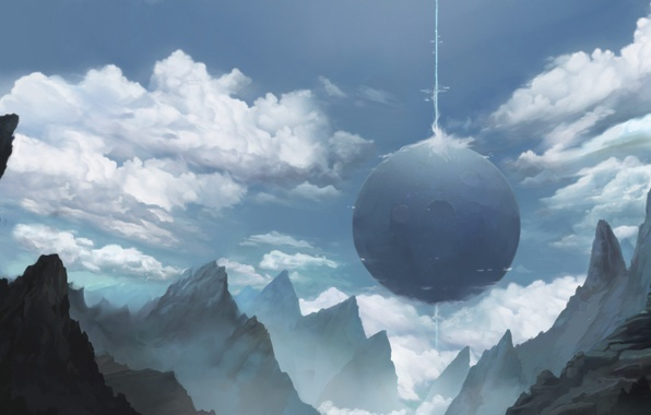 Picture clouds, mountains, rocks, planet, ray, art