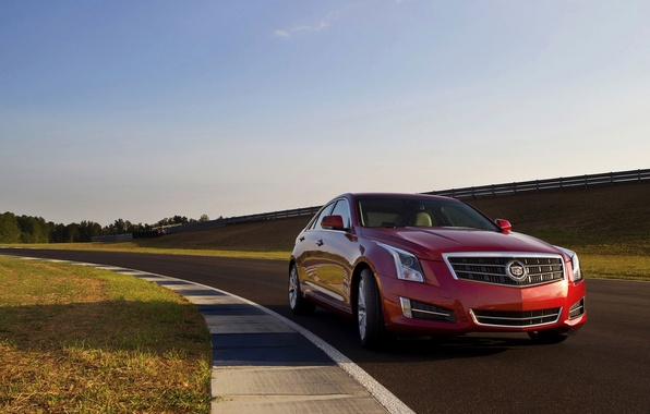 Picture Cadillac, Red, Road, Machine, Logo, Sedan, Cadillac, Lights, ATS