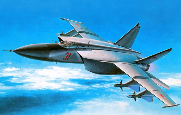 Picture the sky, figure, art, generation, fighter-interceptor, Soviet, tall, supersonic, 3rd, The MiG-25, Foxbat, Foxbat