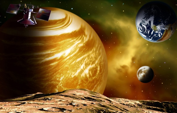 Picture space, nebula, planet, Earth