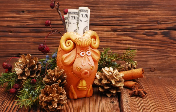 Picture New Year, symbol, New Year, money, dollar, sheep, decoration, 2015