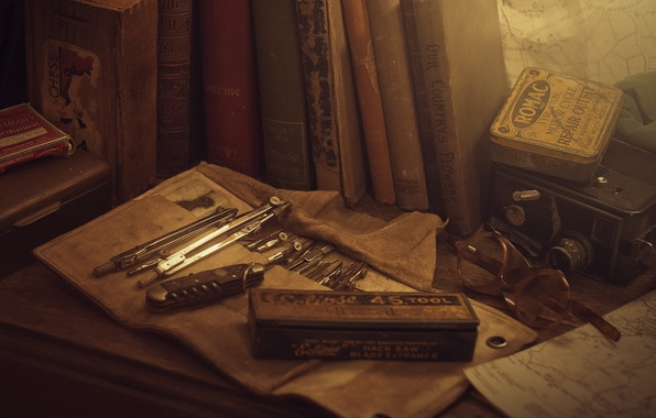 Picture color, old, retro, photo, table, Wallpaper, books, glasses, picture, items, different, wallpapers, set, drawing, Drawing …