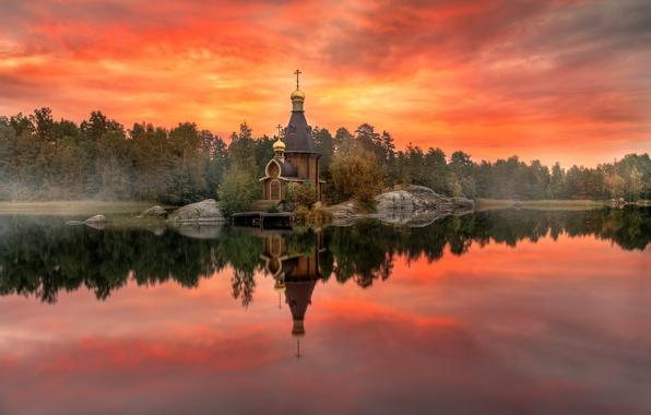 Picture autumn, temple, Karelia