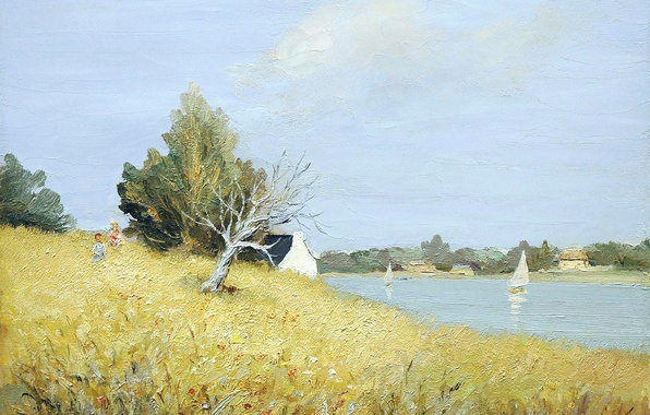 Picture landscape, house, hills, boat, picture, sail, Brittany, Marseille Dif, Tumiac