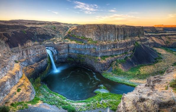 Picture landscape, river, rocks, view, waterfall, canyon, Washington, USA, Washington, Palouse Falls