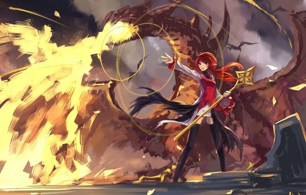 Wallpaper magic, art, swd3e2, anime, dragon, girl, dungeon ...