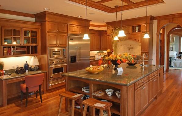 Picture style, technique, kitchen, interior, lamps, table., kitchen