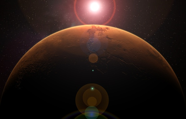Picture space, stars, surface, planet, Mars