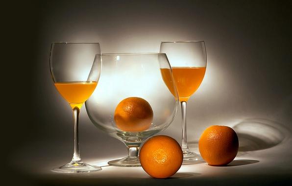Picture oranges, glasses, still life, orange, orange juice