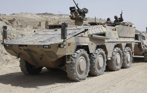 Picture sand, destruction, base, soldiers, machine gun, APC, The Bundeswehr, Armoured Transport Vehicle Boxer
