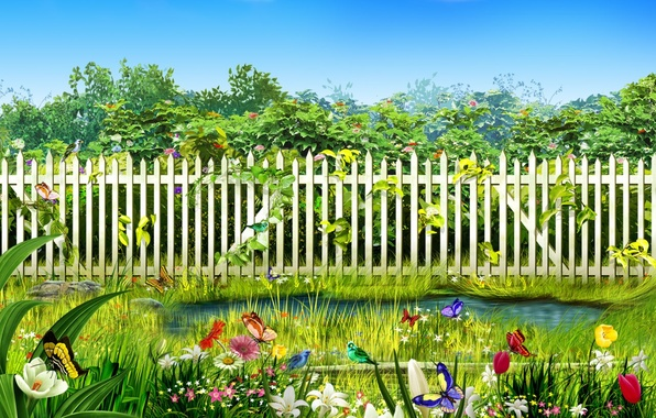 Picture flowers, birds, stream, the fence