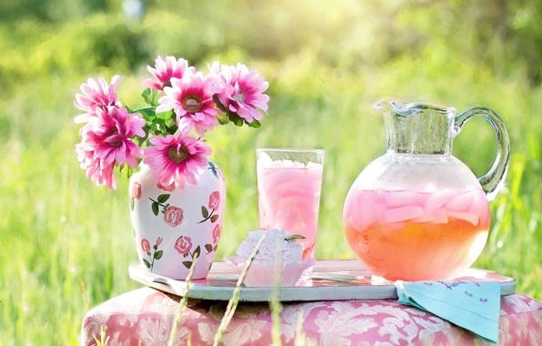 Picture summer, grass, nature, glass, Flowers, bouquet, vase, drink, pink, cake, pitcher, lemonade