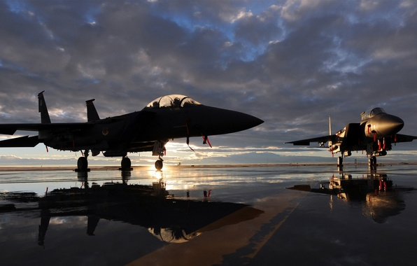 "Picture sunset, the plane, fighter, aircraft, runway, McDonnell Douglas F-15 Eagle, McDonnell Douglas F-15 ""Eagle"""