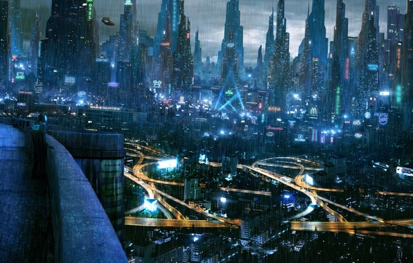 Picture the city, lights, future, cyberpunk