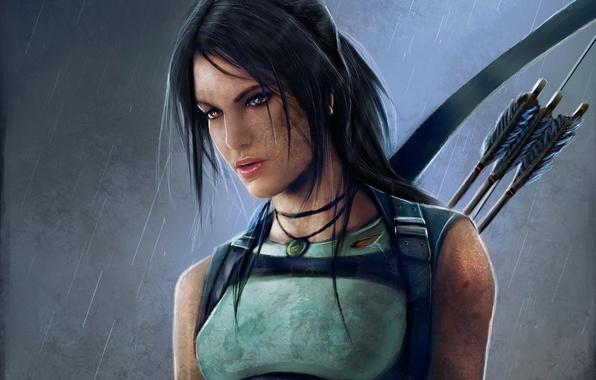 Picture girl, rain, bow, dirt, art, arrows, lara croft, tomb raider, reborn
