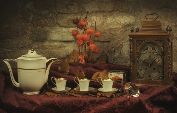 Picture watch, Cup, dishes, still life, physalis, coffee pot