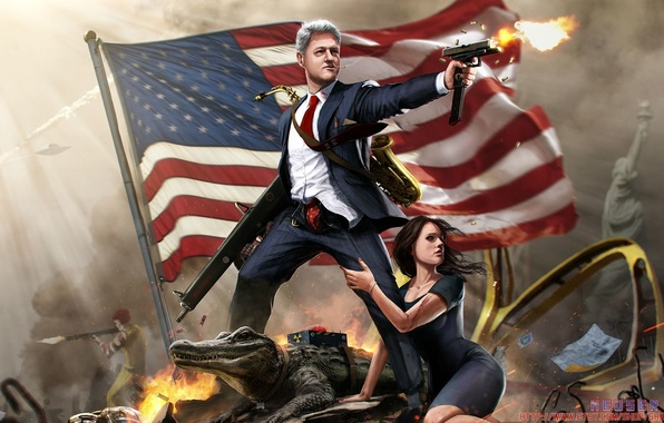 Picture Girl, Gun, McDonalds, Flag, Ronald, Clinton, Alligator, President