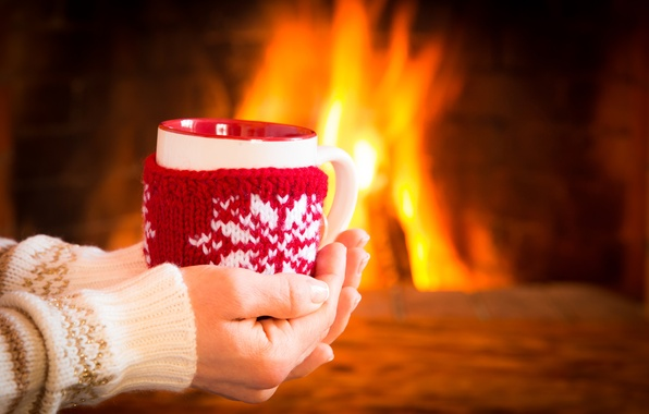 Picture winter, coffee, hot, Cup, fire, fireplace, winter, cup, coffee, cute, mitten