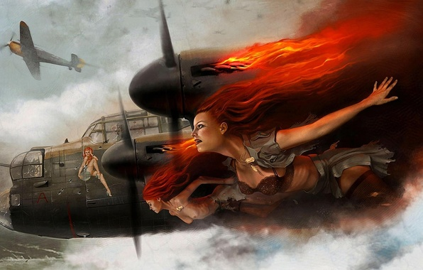 Picture chest, the sky, the plane, girls, fire, flame, underwear, badge, bomber, British, pin-up, turrets, four-engine, …