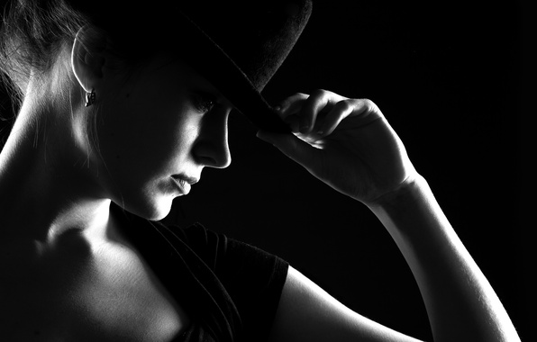 Picture girl, hat, black and white, girl, Noir, hat, black