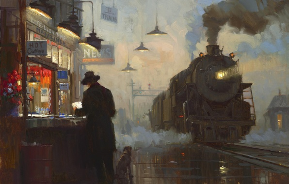 Picture oil, the engine, picture, station