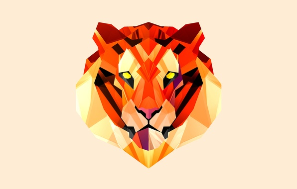 Picture face, tiger, background, red