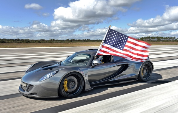 Picture the sky, flag, supercar, the front, Hennessey, Venom GT, Hennessy, Venom GT, World Speed Record