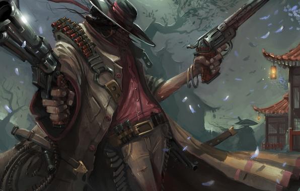 Picture Japan, hat, art, cloak, killer, shooter, revolvers