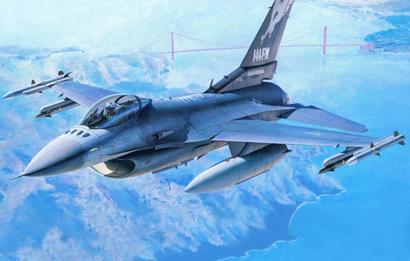 Picture aviation, fighter, art, San Francisco, the plane, American, F-16, UNITED STATES AIR FORCE, F-16